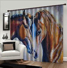 3D Painting Horse Blockout Photo Curtain Printing Curtain Drape Fabric Window CA