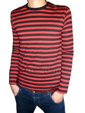 Mens Stripey t-shirt tee red black nautical indie mod Top striped preppy jumper
