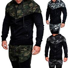 Men's Camo Hoodie Winter Hooded Jacket Coat GYM Zipper Sweatshirt Jumper Outwear