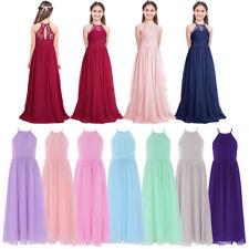 Girls Party Formal Princess Flower Girl Dress Wedding Bridesmaid Dress Age 4-14Y