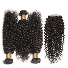 100% Human Hair Black color 1B Jerry Curl 3 Bundles with Closure