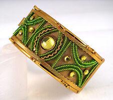 Ornate Gold Green Dance Ethnic Mughal Bollywood Indian Bridal Tribal Bangle Cuff