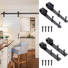 2x Steel Sliding Barn Rollers Replacement Wood Door Hardware Track Bracket Black