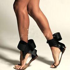 Classic Women's Flip Flop Black Bow Flat Heel Beach Sandals Shoes Plus Size