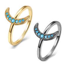 Yellow Gold Platinum Plated Ring Womens Moon Kallaite Stone Blue B506