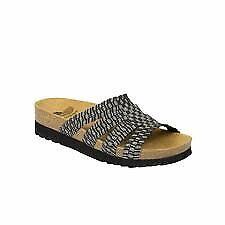 SCHOLL ciabatte sandali elasticizzati SAIKI plantare BioPrint NERO PELTRO