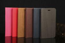 NUOVO in legno Custodia pelle a libretto per PORTAFOGLIO iPhone 6 6s e