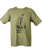 """D-DAY DOLL"" WW2 NOSE ART VINTAGE FASHION Style RETRO Unisex T-shirt GREEN"