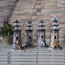 Handmade tall 27cm Wood Beach Lighthouse Harbour Lights Ornament Nautical decor