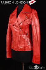 'ROSE' Ladies Red Washed Biker Girl Motorcycle Studded Designer Leather Jacket