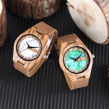 Natural Bamboo Wood Watch Unisex Green & Marbel Design WristWatch Genuine Wood