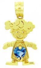 Fine Yellow Gold March Birthstone Aquamarine CZ Baby Girl Charm Pendant