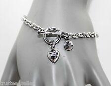 Juicy Couture Brand Bundle Heart Wish Charm Chain Bracelet W/ Pink Gift Box