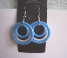 Big blue and white triple hoop plastic earrings - clip-on option