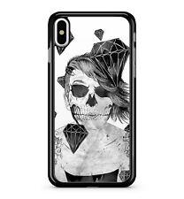 femelle Crâne Gothique Femme Cristal Noir Strass Spooky 2D étui de téléphone
