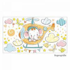 nikima 028 Wandtattoo Elefant auf Hubschrauber orange Baby Kinderzimmer Deko