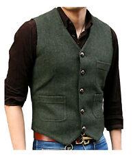 Men's Suit Vest V Neck Waistcoat Wool Herringbone Tweed Casual Business Groom