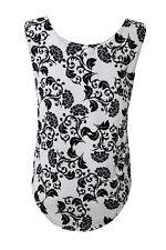 pour femme noir et blanc floral vintage rétro chuté emmanchure Débardeur T-shirt