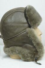 TOBACCO Sheepskin Shearling Leather Russian Ushanka Trapper Trooper Hat M-XXXL