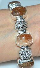 GOLD Rutile Quartz, HALLMARKED 925 STERLING SILVER Bracelet Jewellery