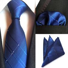 Fashion Men Blue Plaids Checks Silk Neck Tie Set Necktie Handkerchief Set Lot