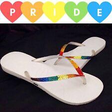 Havaianas Slim LGBTQ Pride Rainbow Flip Flops w/ Swarovski Bling Rhinestone Shoe
