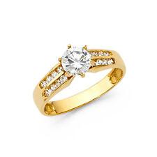 Ladies 14K Solid Yellow Gold 0.75 cttw Round Cut Cubic Zirconia 4.5mm Wedding En