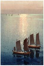 Japanese POSTER.Stylish Graphics.Marine Sunset.Asia art.wall Room Decor 142i