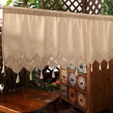 Linen cotton lace stitching tassel Crochet Home Kitchen Sheer Cafe Curtain Favor