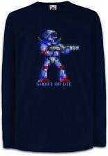 SHOOT OR DIE Kinder Langarm T-Shirt Turrican Game Sprite Amiga Figur Robot Spiel