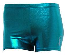 Gymnastic Leotard Shorts Girls Gym Dance metallic sheen petrol FAST DELIVERY UK