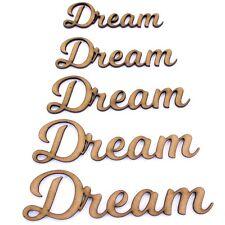 Dream palabra forma artesanal, varios tamaños, 2 mm Madera Mdf. se unió a hasta letras, secuencia de comandos