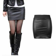 Womens Ladies High Waist WET LOOK Mini Panel PVC Casual Party Elastic Band Skirt