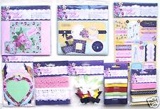 Papermania Simply Floral adornos adhesivos tarjeta kit botones lazos de cinta