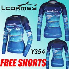 FREE SHORT WOMEN/'S RASH GUARDS LONG SLEEVE SURF WETSUITS SWIM TOP SHIRTS Y352P