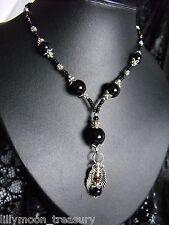 XXL long glass beaded GOTHIC necklace ANGEL WING onyx garnet gemstone unique