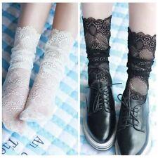Lady Girl Ruffle Lace Socks Short Stockings Sheer Mesh Hollow