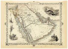 Old Vintage Arabia decorative map Tallis ca. 1851