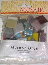 2x2 cm MURANO Glasmosaik Mosaik in 70 FARBEN MARMORIERT & GOLDLINE ~50 Stk 150g