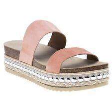 New Womens SOLE Pink Nude Skylar Suede Sandals Platforms Slip On