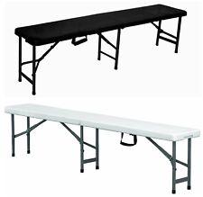 6ft Folding Plastic Bench White Black Heavy Duty Seat For Picnic BBQ Garden