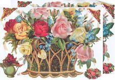 Cromo EF Recortes Cesta Flores 7181 En relieve Ilustraciones flores