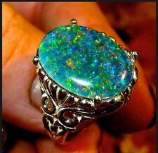 925 Silver Filled Women Green Fire Opal Topaz&Emerald Gemstone Jewelry Rings New