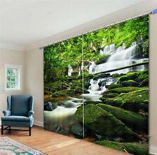 White Creek Rocks Forest 3D Blockout Photo Curtain Print Curtains Fabric Windows