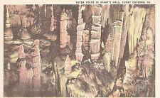 Totem Poles in Giant's Hall, Luray Caverns, VA   Linen Postcard