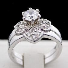 2 PIECE Interlocking Ring Set   Ladies Simulated DIAMOND White GOLD EP Ring Set