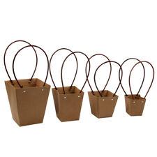 Kraft Paper Bag Flower Waterproof Bouquet Basket Florist Gift Box with Handle