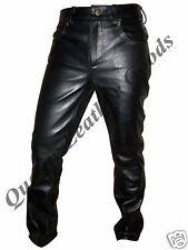 100% vera pelle uomo 501 stile COMODO LUSSO pantaloni pantaloni jeans