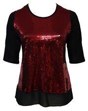 Womens 16-26 Glitzy Red Sequin Stretch Tunic Top Black Georgette Hem Ladies