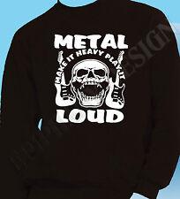 Heavy Metal Sweatshirt Gig Rock Hard Metal  Unique Design Loud Music Skullshead